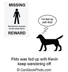 Kevin missing - Kevin went missing again cartoon isolated on...