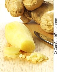 Chopped ginger root, closeup - Peeled and chopped fresh...