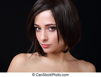 Beautiful sexy woman with green eyes and short hair looking...