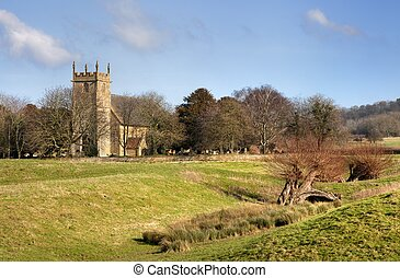 Cotswold church at Weston Subedge, Gloucestershire, England