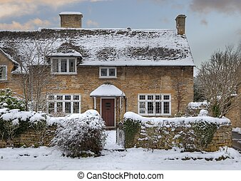 Cotswold cottage in snow - Cotswold cottages in snow,...