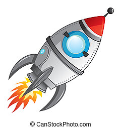 Rocket launch - Cartoon rocket with flame coming from engine