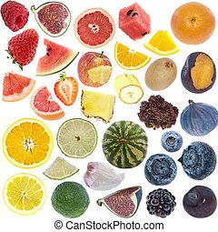 frutte, collage, (icon, size), isolato, bianco