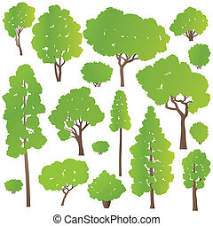Tree and bushes set ecology vector background concept for...