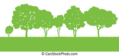 Forest trees silhouettes landscape illustration background...
