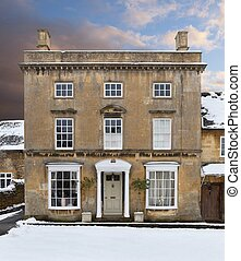 Cotswold house in snow - Fine Cotswold house in snow,...