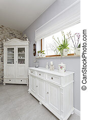 Tuscany - white commode - Tuscany - closeup of a white...