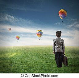 Future of a young boy - Concept of future of a young boy in...
