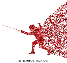 Fencing woman sport silhouette vector background concept...