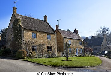 Cotswold houses - Two Cotswold houses in the Gloucestershire...
