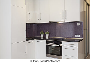 Cozy flat - kitchen with a purple wall