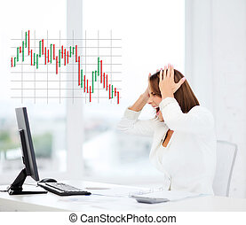 stressed woman with computer - business, office, problem,...