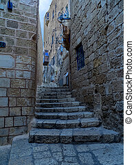 An old street of Jaffa, Israel - A view of an old Jaffa...