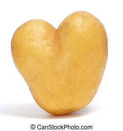heart-shaped potato - a heart-shaped potato on a white...