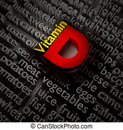 3d vitamins. - 3d text concept of vitamin D on the subject...