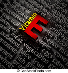 3d vitamins. - 3d text concept of vitamin E on the subject...