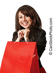 Happy shopper - An crazy happy shopping girl holding bags...