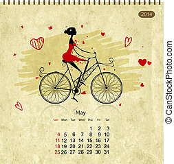 Girls retro calendar 2014 for your design, may