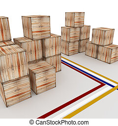 Crate. - 3d wooden crate in a warehouse facility.
