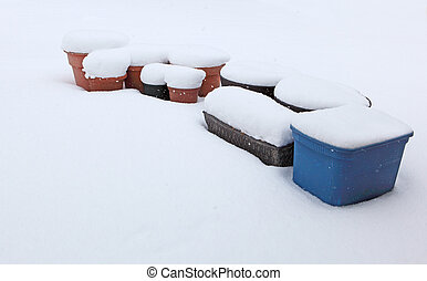 Planter snow - Planter covered by snow in winter time