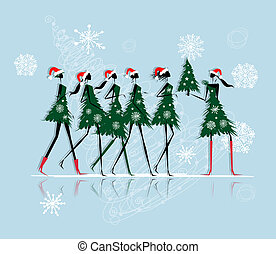 Christmas tree girls for your design