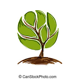 Abstract green tree for your design