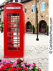 Traditional British red phone booth - Traditional british...