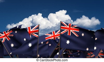 Waving Australian Flags seamless alpha channel