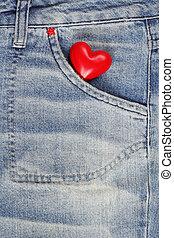 rojo, corazón, vaqueros, pantalones, bolsillo