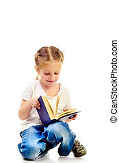 little girl reading book isolated on a white background