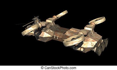 Futuristic military spacecraft with helicopter-like...