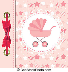 Vector Illustration of Pink Baby Carriage for Newborn Girl