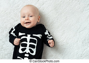 baby dressed skeleton - Little baby dressed funny skeleton
