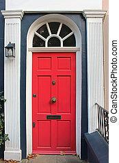 Pink residential door