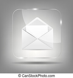 Mail Icon in Glass Button Vector Illustration