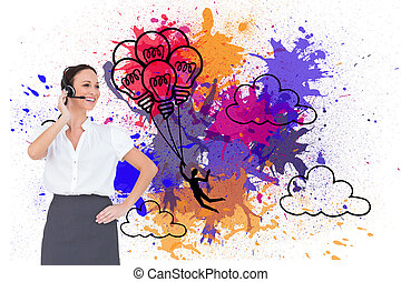 Composite image of cheerful smart call center agent working...