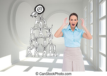 Composite image of surprised stylish businesswoman posing