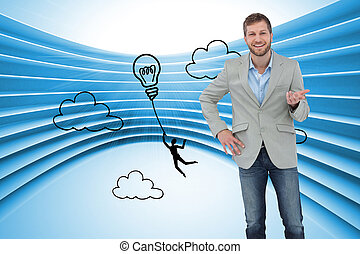 Composite image of stylish man smiling and gesturing with...