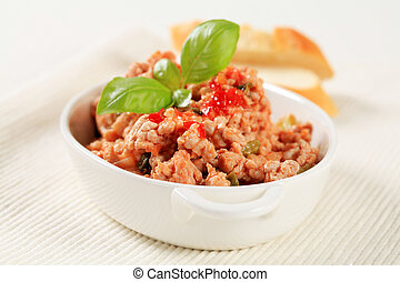 Minced meat stir fry in a porcelain dish