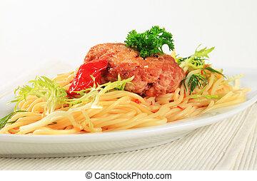 carne, empanada, Espaguetis