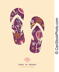 Underwater plants flip flops pattern background - Vector...
