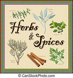 Herbs and Spices, Mosaic Border - Herbs and Spices,...