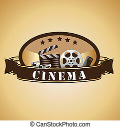 cinema icons - a lot of brown silhouettes of cinema icons
