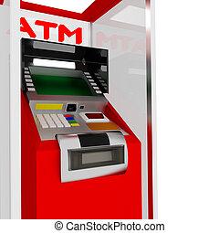 ATM. - 3d red atm cash dispenser in white.