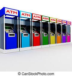 ATM - 3d atm many cash dispenser in white