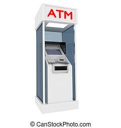 ATM. - 3d atm cash dispenser in white.
