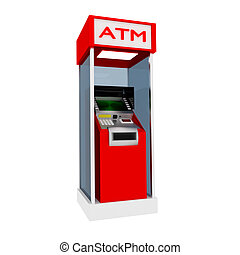 ATM. - 3d red atm cash dispenser in white.