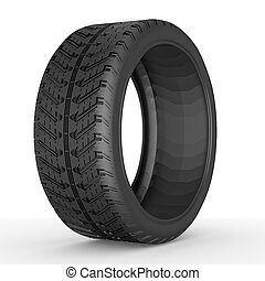 3d Tire. - 3D tire on white background.