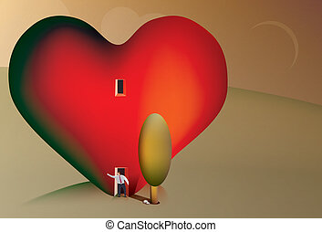 Business man searching for love - Illustration of a business...