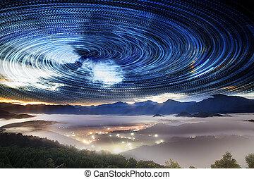 élevé, montagne, route, galaxie